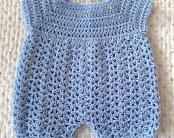 Hand Knitted Baby Romper (0-3 Months) - Made in the UK