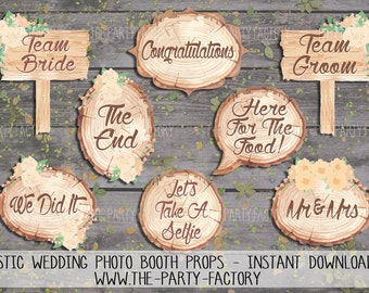 Rustic Wedding Party Photo Booth Props, Instant Download, Printables