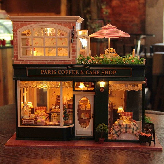 doll house kit glass house miniature the paris coffee shop from cnyworkshop on etsy studio. Black Bedroom Furniture Sets. Home Design Ideas