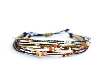 Multi strap cords, Brown, cord of waxed polyester, beads, beach