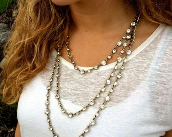 3- Tier Crystal Statement Necklace