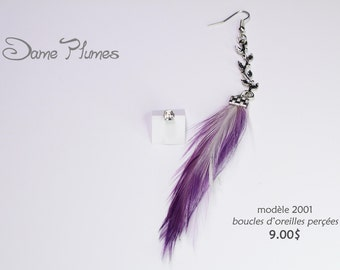 Pierced earrings feathers