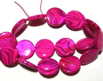 1 Strand Striped Print Coin Shell Beads 20mm - Hot Pink (B19)