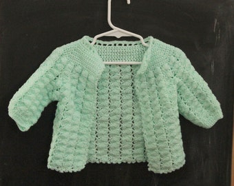 Girls Mint Green sweater, hand knitted, vintage,
