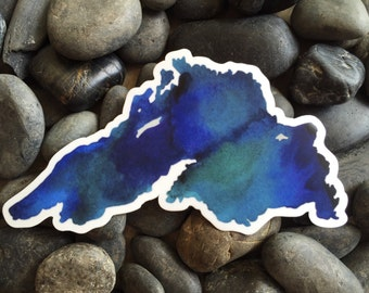 Lake Superior Watercolor Sticker -- Car Decal -- Laptop Sticker -- Cool Colors