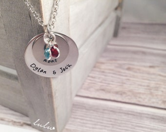 Nana grandma necklace - Stamped necklace for nana grandma - Personalized jewelry with grandchildren names - Custom gifts for nana grandma
