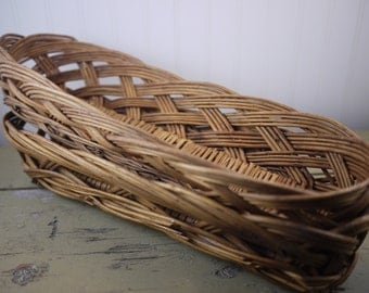 Rustic French Style Hand Woven Wicker Baskets French Bread Baskets Hand Made Baguette Basket Vintage French Basket