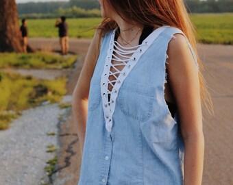 Denim Lace Up tshirt