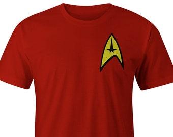 Star Trek Red T-Shirt Left Chest, Star Trek Red Tee, Star Trek Shirts, Star Trek T-shirts, Star Trek Tees, Star Trek Shirt, Star Trek Beyond
