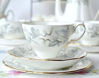 Royal Albert tea set: Silver Maple footed tea cup, saucer and plate - elegant china for that perfect tea party
