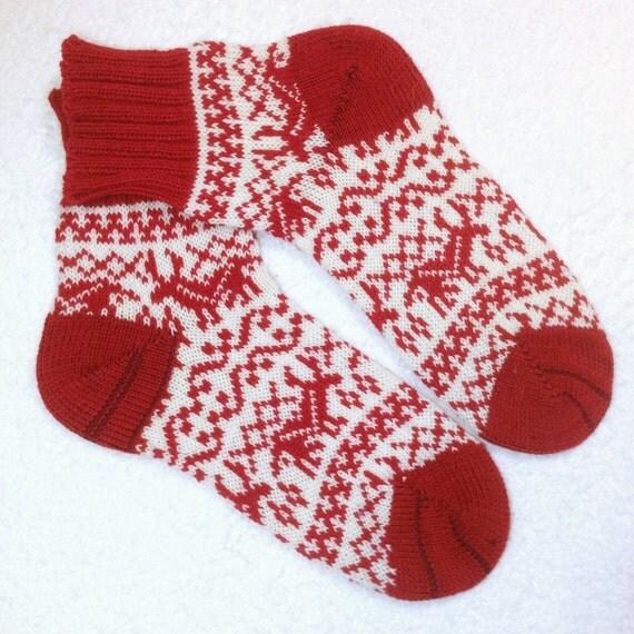 Knitting Pattern For Cashmere Socks : Knitted handmade cashmere wool socks red by KnitHandmadeByDana