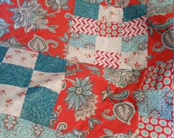 Lap Quilt Red Turquoise Floral Scroll Baby Boy or Girl Crib Quilt