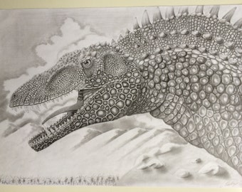 ORIGINAL drawing of an Acrocanthosaurus , 16.5 X 11.7 inches