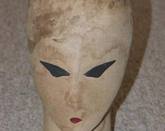 Vintage Siegel & Stockman fabric mannequin head millinery
