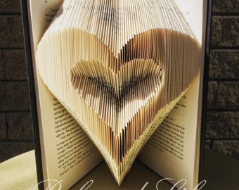 Folded Book Art / Book Folding / Heart / Unique Gift / Book Art / Book Origami