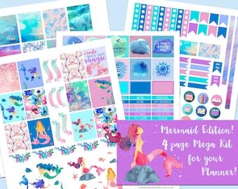 Mermaid Edition - Caribbean Blue, Beach Stickers, Ocean Stickers, Printable Planner Sticker Kit, ECLP, Erin Condren Life Planner, Vertical