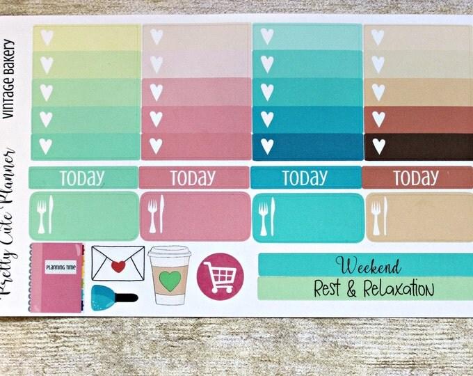 Retro Bakery Planner Stickers-Weekly Planner Sticker Set-Erin Condren Life Planner-Happy Planner -Day Designer-Functional stickers-ombre box