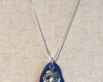 Sterling Silver Sand Dollar & Sea Glass Necklace