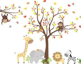 "Safari Nursery Decal - Jungle Nursery Decal - Baby Room Stickers - Kids Room Wall Art - Nursery Decor - Baby Shower Gift - 65"" x 92"""