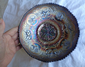 "Antique Fenton Carnival Glass Bowl 1920 ""Dragon & Lotus"" Pattern Great Iridescence 8"" EX"