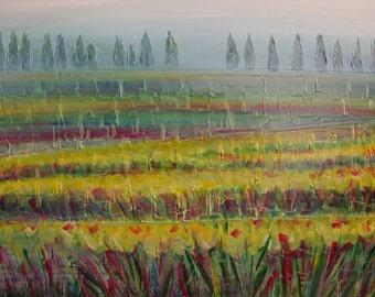 80 x 100 cm acrylic painting on canvas foggy landscape