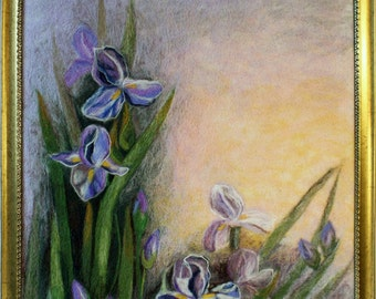 "Felt picture ""Irises in the Sunrise"" - wool paintings"