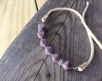 Purple Mottled and Sterling Silver Bracalet