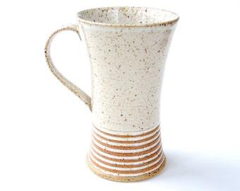 Ceramic mug - coffee cup with rust stripes