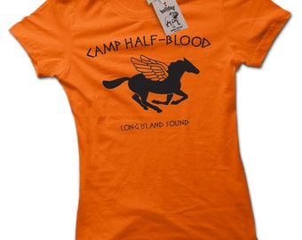 Camp Half Blood CHB Percy Jackson Demigod Shaped Ladies T Shirt Small to 2X Large