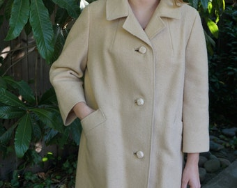 Vintage 1960s Dumas Coat / Wool Jacket / Vintage Trench Coat / Swing Coat