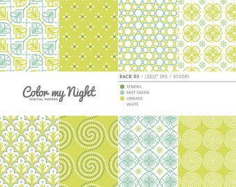 Digital Paper Green 'Pack03' Scrapbook Papers Digital Backgrounds for Scrapbooking, Invitations, Decoupage, Crafts...