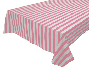 Cotton Table Cloth Stripes / Lines 1 Inch Stripes Pink & White