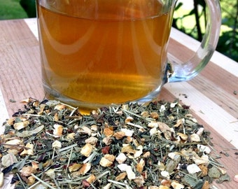 Lemon and Ginger Loose Leaf Tea, Red Tea, No Caffeine, Honeybush Tea