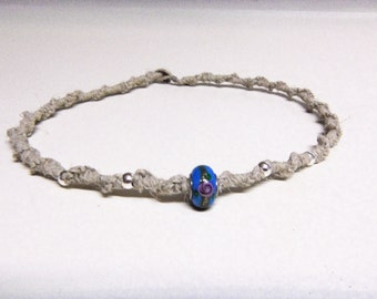 Natural Hemp Necklace w/ Glass & 925 Sterling Silver Beads