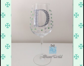 Personalised Wine Glass, Hand Decorated, Wine Glass, Green Rhinestones, Letters, Decorated Wine Glass, Personalised Gift, Christmas gift