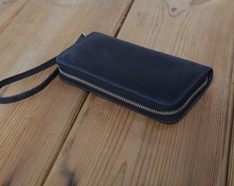 Leather purse , Leather Zip Wallet