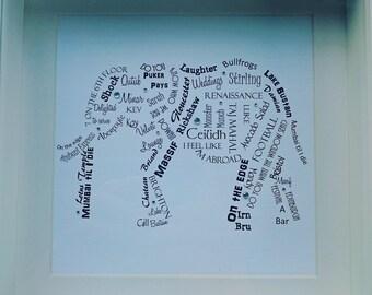 Elephant word art