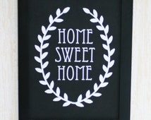 Home sweet home Key holder-sign,Hand made,Black and white Key rack, Wall decor with leaf decor, Home decor design, Simple Housewarming gift.