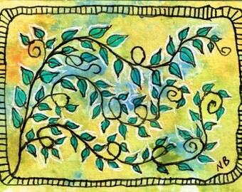 ATC or ACEO Original Acrylic Mixed Media Painting Vine 4