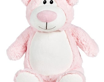 Personalised Pink Cubbie Bear, Stuffie Bear Personalised Gift, Birth, Christening, Any Occasion, Any Name/Message