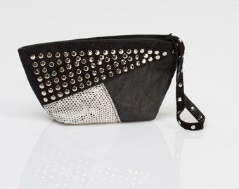 Small evening purse-Wristlet purse-Unique leather purse-Soft leather bag-Clutch purse-Cosmetic bag-leather clutch bag-Black leather bag