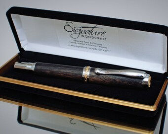 Unique Handmade Irish Bog Oak Fountain Pen - Made in N. Ireland (TRENTON-FP)