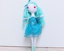 Rag doll, ballerina doll, Eco-Friendly Fabric Cloth Doll, mint, tourquoise, opal, gift for a girl, tutu skirt, yarn hair doll, birthday gift