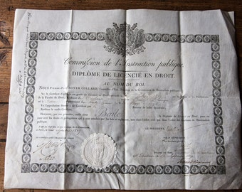 Old vellum paper graduate degree in law 1819
