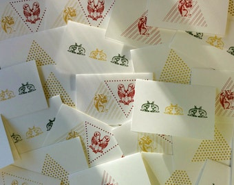 Pack of 5 greeting cards, cards silk-screened, Easter cards, Bunny card