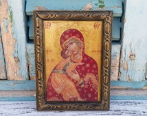 Madonna and Child, Madonna Icon, Virgin Mary,Carved Wood Frame,Carved Wood Decor,Icon Wall Decor, Religious Present,Easter Gift Idea St Mary