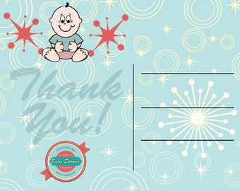 retro baby shower thank you postcards