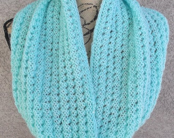 Pale Turquoise Lace Weight Sequined Knit Cowl