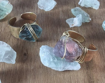 Fluorite Wire Wrapped Brass Adjustable Ring (Mint Green Available Only)