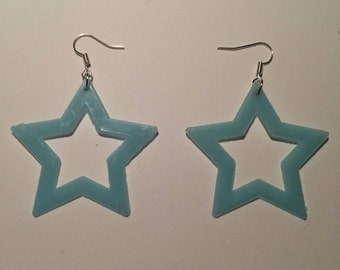 Blue Glow in the Dark Star Dangly Earrings